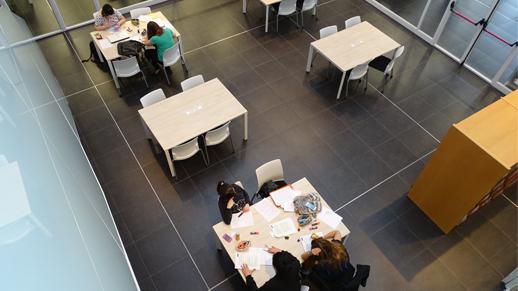 La biblioteca cuenta con amplias salas de trabajo en grupo
